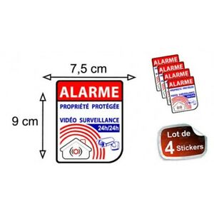 Autocollant-Alarme-propriete-sous-video-surveillance-alarme-logo-64-sticker-x4