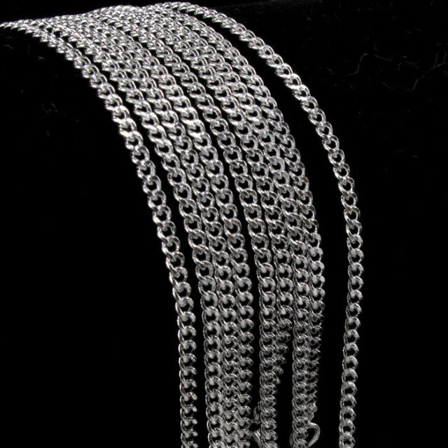 New! Wholesale Lots 5pcs Rolo Curb Chain Necklace Silver Necklace