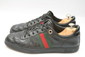 Men-039-s-Gucci-Ace-Black-Leather-Sneakers-Trainers-UK-10-5
