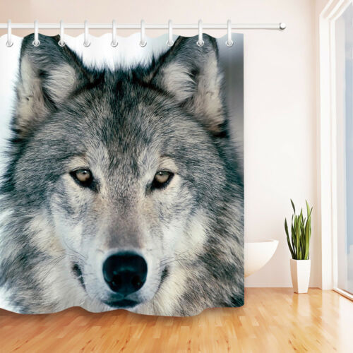 Waterproof Fabric West Wild Wolf Shower Curtain Bathroom Home Decor Hooks 60//72/""