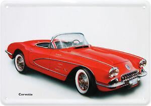 Carte Postale en Tôle / Métal Corvette US Dream Voiture en Rouge Cabriolet