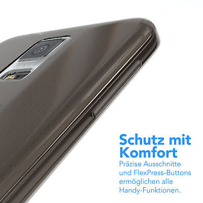 Ultra Slim Cover für Galaxy S5 / Neo Case Silikon Hülle Transparent Anthrazit