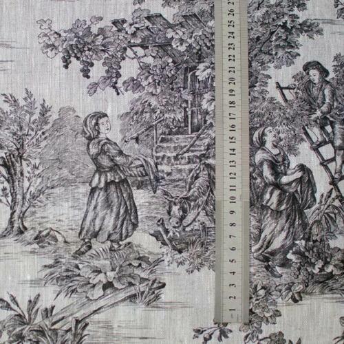 Lin Toile de Jouy impression noire sur écru French Fabric