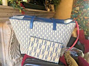 Large Carolina Herrera Monogram Canvas Leather Tote Handbag Ebay