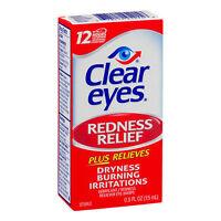 2 Pack - Clear Eyes Redness Relief Eye Drops .5 Fl Oz (15 Ml) Each on sale