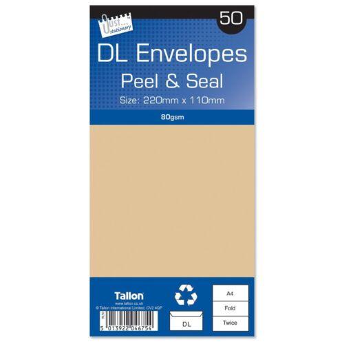 Pack of 50 4675 Just Stationery DL Peel /& Seal Manila Envelopes