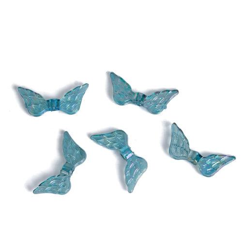 Lot 10 perle intercalaire Aile d/'ange Acrylique Couleur Vert Clair 20mm x 9mm