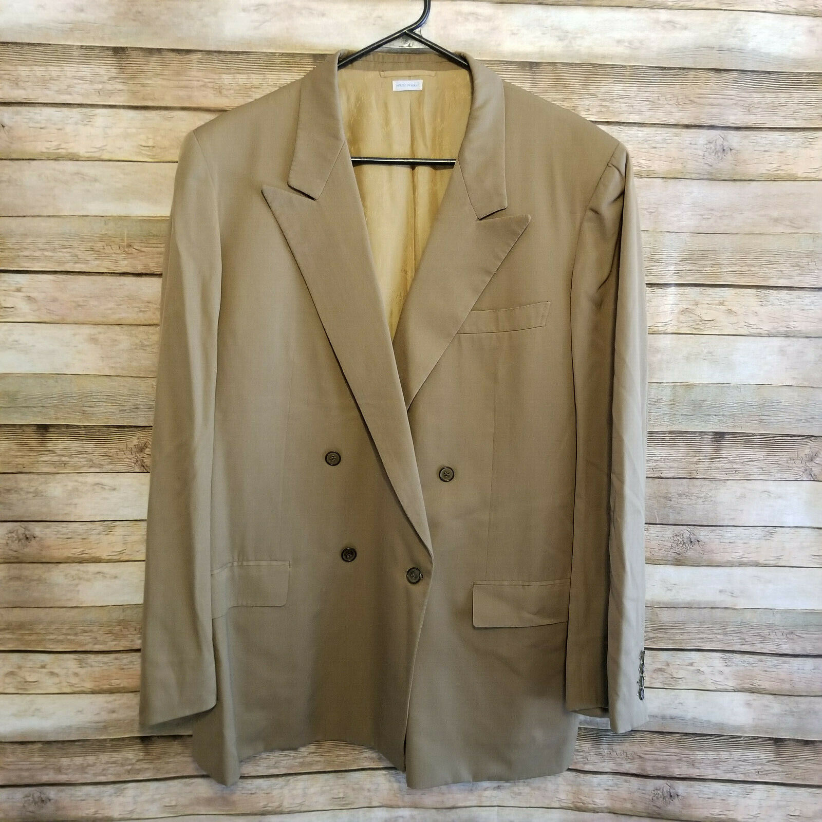 Brioni Mens Brown Double Vented Double Breasted Blazer Sportscoat Sz 46L GUC