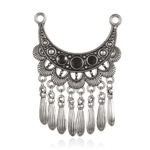 2pcs Antique Silver /& Black Alloy Enamel Moon with Tassel Pendants DIY Charms
