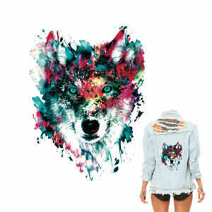 Wolf-Patch-Iron-on-Clothes-Sticker-Heat-Transfers-Clothing-Print-Washable