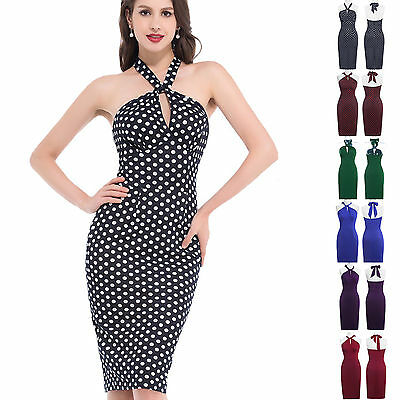 Vintage Retro Swing 50's 60's Pinup Housewife Evening Prom Slim Dress