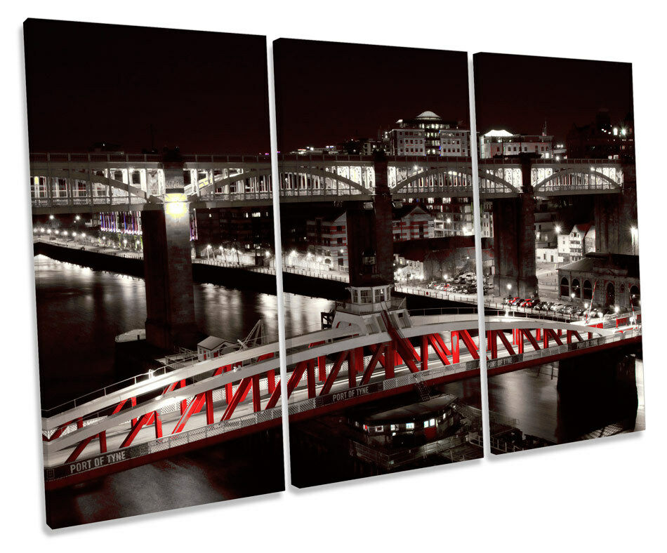 Newcastle River Tyne Swing Bridge TREBLE CANVAS WALL ART Box Framed Print
