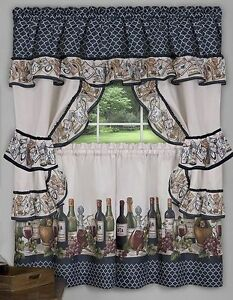 Image Is Loading 3 Pc Kitchen Curtains Tailored Cottage Set WINE