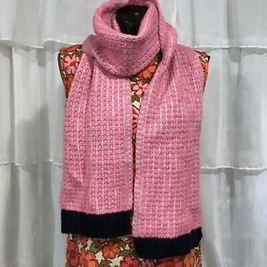 Womans-BODEN-Pink-And-Navy-Wool-Blend-Scarf