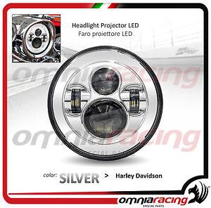 Faro-LED-Silver-Omologato-7-034-per-Harley-Davidson-Touring-Headlight-Front-LED
