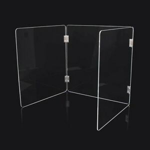 Office Desk Shield Sneeze Guard Acrylic Plexiglass 3 Sided STUDENT DESK SHIELD