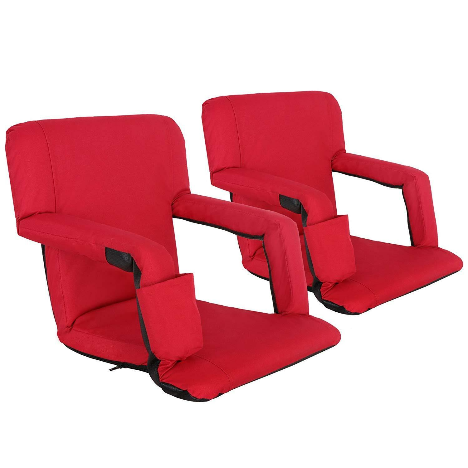 Two Stadium Seats Competition Concert Reclining Seat Red 5 Positions Tiltable