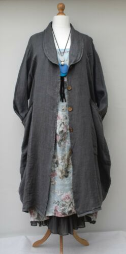 """PLUS SIZE LINEN OVERSIZED 2 POCKETS LONG JACKET*CHARCOAL***BUST UP TO 54/"""" XL-XXL"""