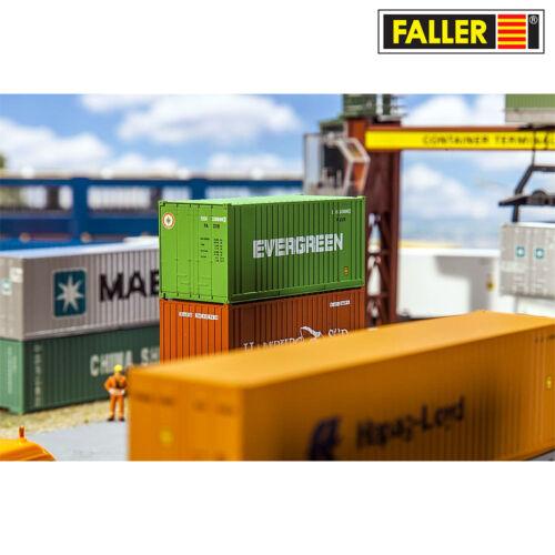 "+ NOUVEAU /& NEUF dans sa boîte Faller 180821 h0 20/' conteneurs /""Evergreen/"""