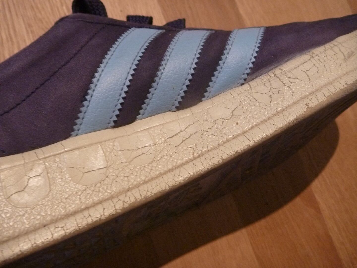 ADIDAS Trimm Trab Gr. 44 / 45 US 10,5 Retro Sneaker Old School blau weiß TOP