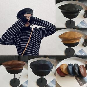 Womens-Vintage-dames-simili-cuir-PU-beret-chapeau-Francais-Cap-hivBB
