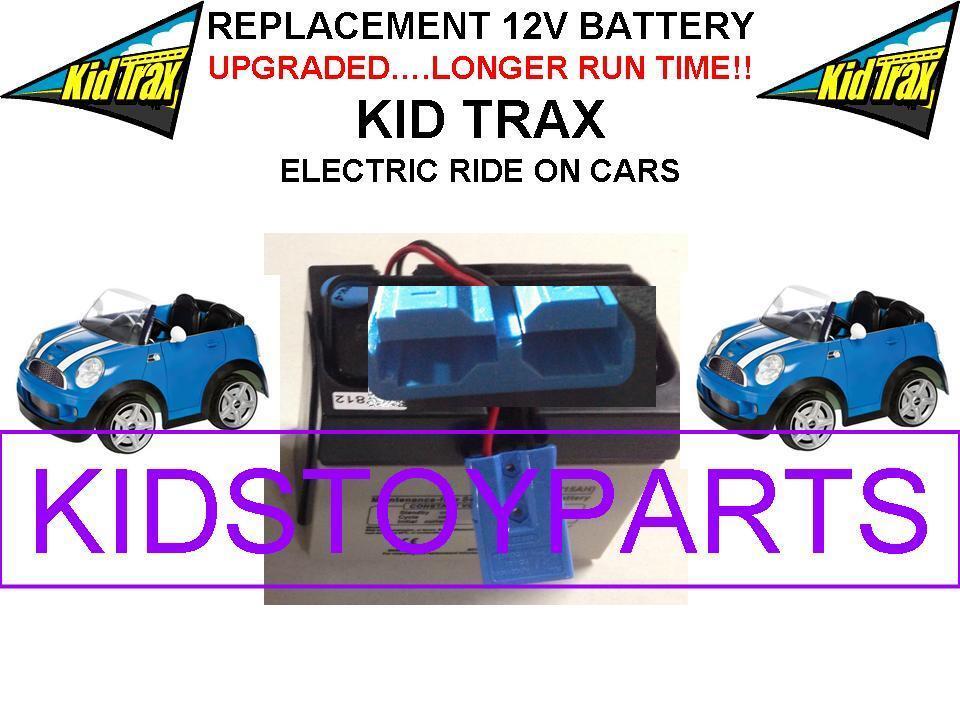 NEW  LONG LASTING MINI COOPER CAR KID TRAX 12V OEM BATTERY blueE W LARGE PLUG