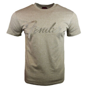 Fender-Men-039-s-Vintage-Retro-Music-Embroidered-Script-Graphic-T-Shirt-Brown