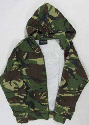Los chicos para niños niños Camo Con Capucha Camuflaje cremallera chaqueta Verde Bolsillos Con Capucha