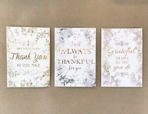 punch studio 6 thank you note cards 3 designs floral gold embossed