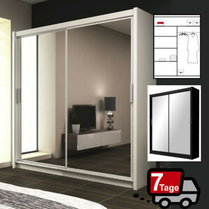 kleiderschrank paris in wei oder schwarz breite 160cm mit schiebet ren m bel ebay. Black Bedroom Furniture Sets. Home Design Ideas
