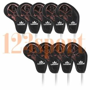 9pcs-x-Golf-Iron-Head-Covers-Suit-Callaway-Titleist-New-Black-Skull