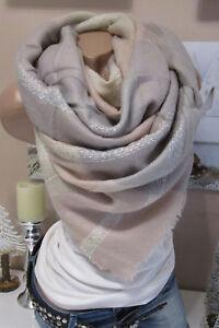 6a495bcd3636 XXL écharpe à CARREAUX FRANGES Plaid à étole poncho rose   eBay