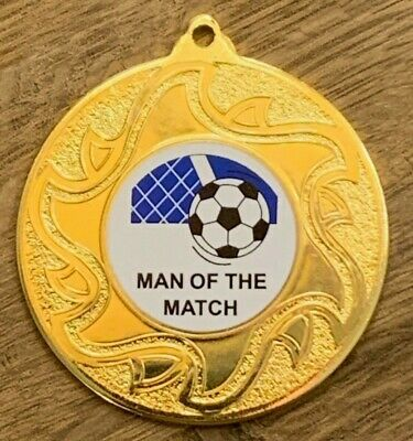10//25//50//100 Football Man of the Match Medals with FREE RIBBONS 51 COLOURS!