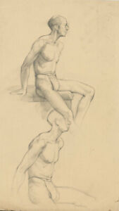 Peter Collins ARCA - c.1970s Graphite Drawing, Male Nude Studies