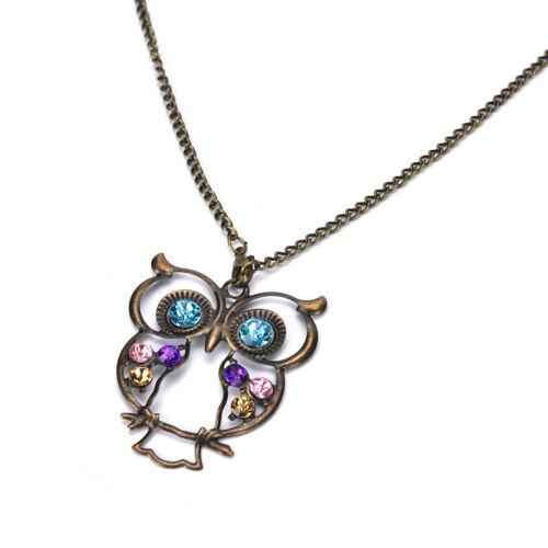 New Women Vintage Rhinestone OWL Pendant Long Chain Necklace Jewellery Gif/_gu