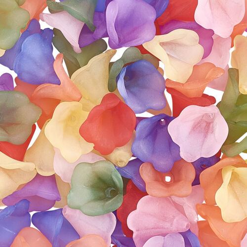 100pcs 9mm Transparent Acrylic Flower Beads Frosted Colorful Bead Caps Spacers