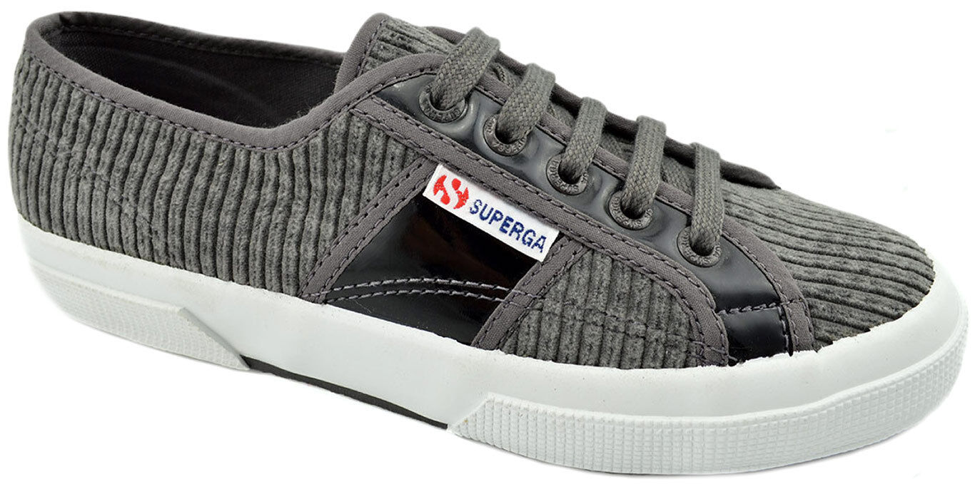 75 SUPERGA  gris noir  Corduroy Leather Sneakers femmes Chaussures  NEW COLLECTION