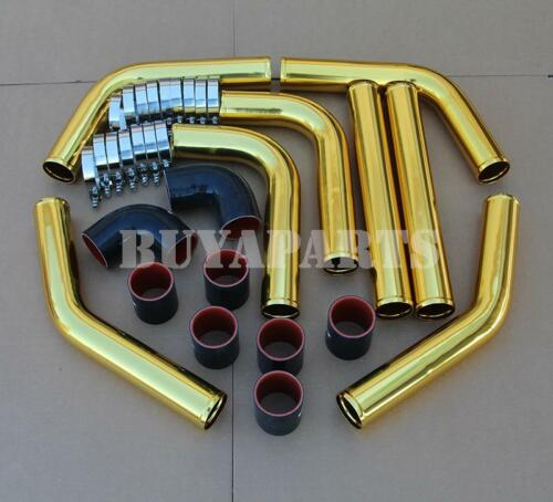 "Gold 2.5/"" 8x Aluminum Intercooler Piping Kit w//Black Couplers T-Bolt Clamps"