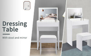 White Dressing Table w//full set of Mirror And A Stool Makeup Desk Vanity Table