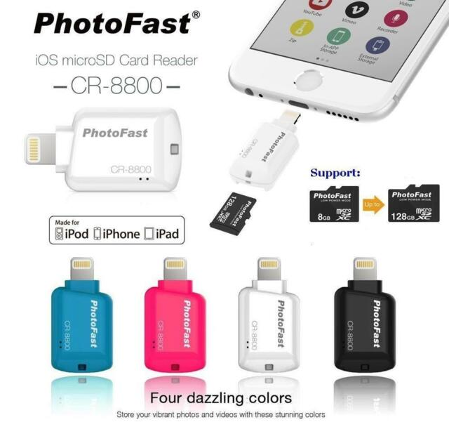 hot sale online 391ea 5fa36 PhotoFast MFI Cr-8800 SD MicroSD Lightning Card Reader for Apple iPhone 6  iPad