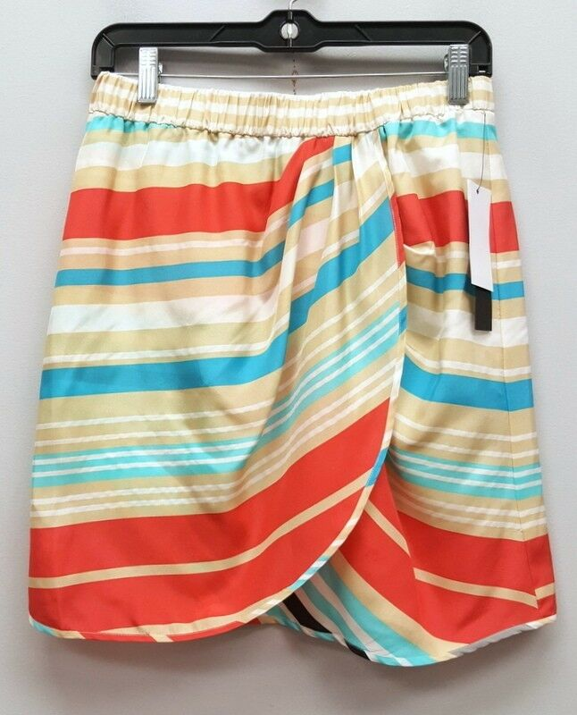 CYNTHIA STEFFE 2 Beige Red White bluee Stripe Tulip Pull On Knee Length Skirt