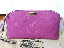 NWT Burberry $995 Chichester Check-Embossed Leather Clutch‏ Shoulder Bag Magenta