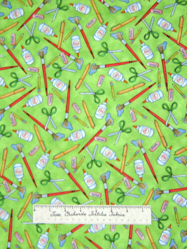 Fabric School Days Art Class Supplies Green Cotton Quilting Treasures QT YARDS