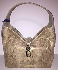 Dooney & Bourke Snake Embossed Leather Hobo Bag with Logo Lock Gold NWT A231435