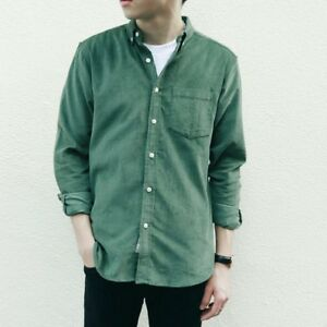 Men-Corduroy-Shirt-Long-Sleeve-Button-Down-Collar-Cotton-Tops-Retro-Loose-Soft