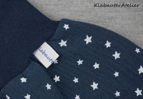 Pumphose Sommer kurz Musselin Stern blau Handmade Gr 56//62,68//74,80//86//92,98//104