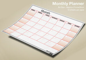 Pack of 12 x A4 Monthly Planner Wall Month Planner Sheets - Any Month, Any Year!