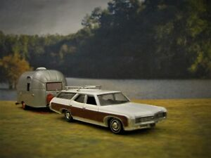 Details about 1969 Chevy Kingswood Wagon + Airstream Camper Collectible /  Diorama Model 1/64