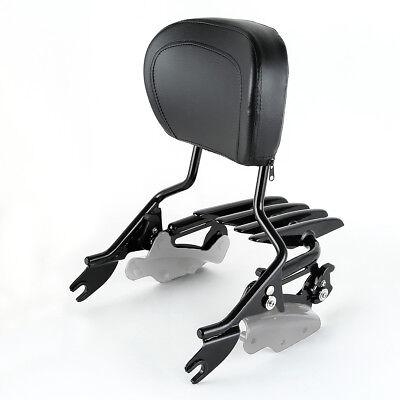 Triple Polished Black Backrest Sissy bar+Stealth Rack For 09-UP Harley Touring