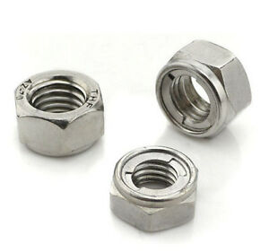 Self Locking Nut >> Details About 304 Stainless Hex Metal Self Locking Nuts Nut M3 M4 M5 M6 M8 M10 M12 M16 M20